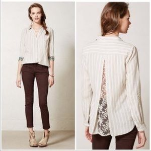 Isabell Sinclair Anthropologie lace linen button
